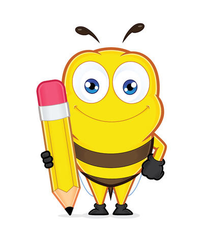 bee: Bee holding a pencil