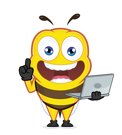 laptop vector: Bee holding a laptop