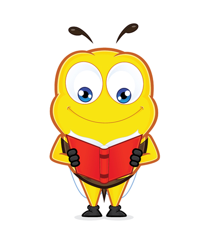 Bee reading a book  イラスト・ベクター素材