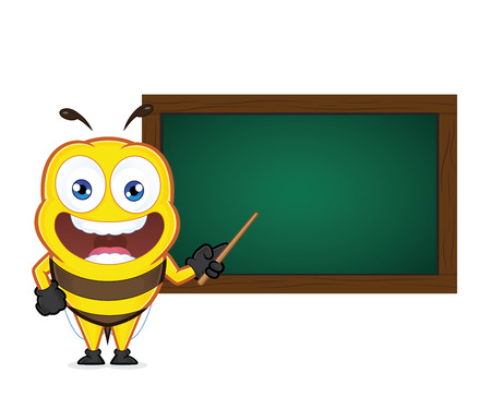 blackboard cartoon: Bee holding a pointer stick with a chalkboard