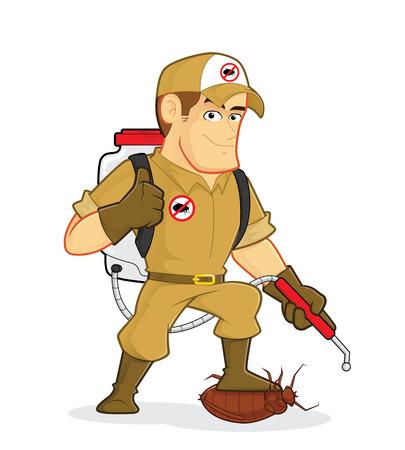 obrero caricatura: Exterminador o control de plagas Vectores