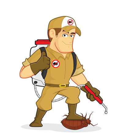 vector control illustration: Exterminator or Pest Control