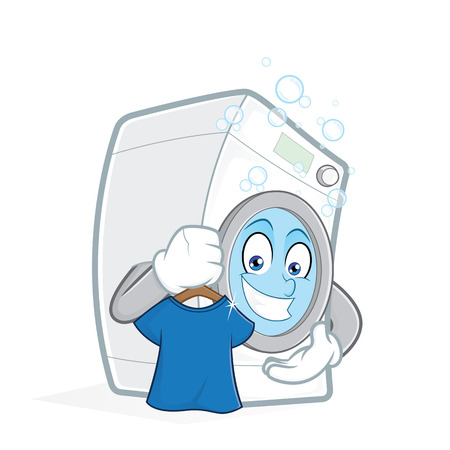 t background: Washing machine holding clean t shirt Illustration