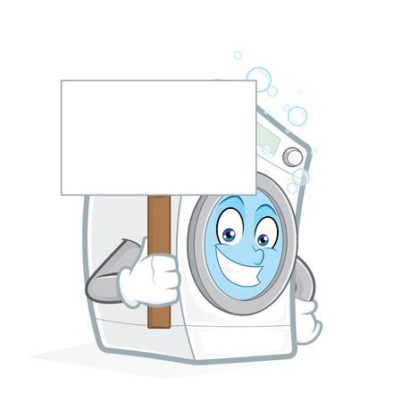 launder: Washing machine holding a blank sign