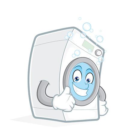 launder: Washing machine giving thumbs up Illustration