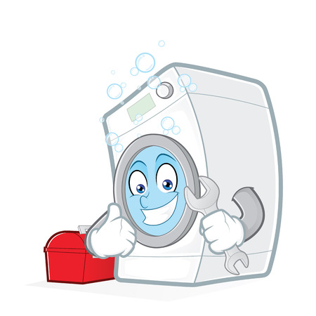 Washing machine holding a wrench with toolbox Vectores