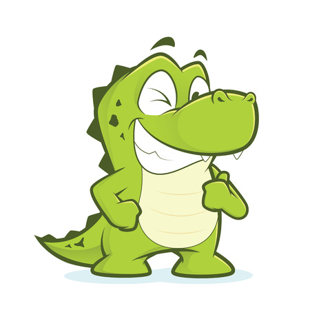 thumbs up gesture: Crocodile or alligator giving thumbs up and winking Illustration