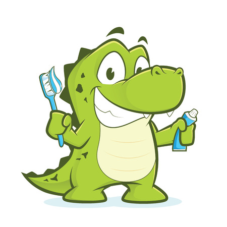 cute animal: Crocodile or alligator holding toothbrush and toothpaste