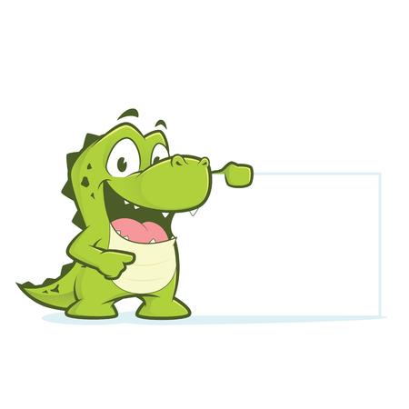 Crocodile or alligator holding blank sign Иллюстрация