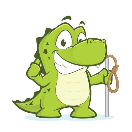 a loop: Crocodile or alligator holding rope