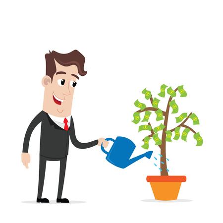 El hombre de negocios que riega un árbol de dinero