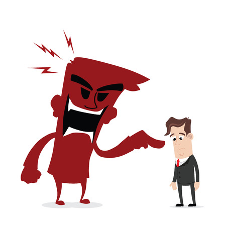 angry businessman: Scolded by boss Illustration
