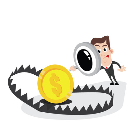 Businessman holding magnifier and looking at bear trap with money Illustration