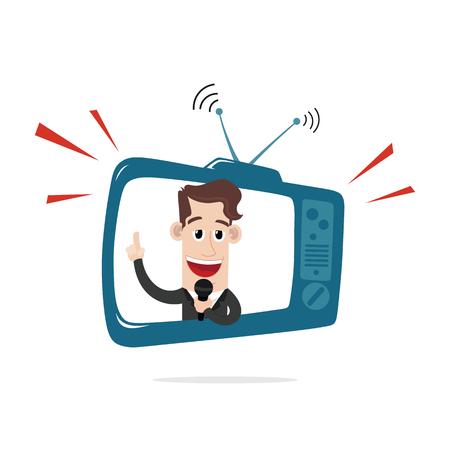newsreader: Businessman behind TV screen Illustration