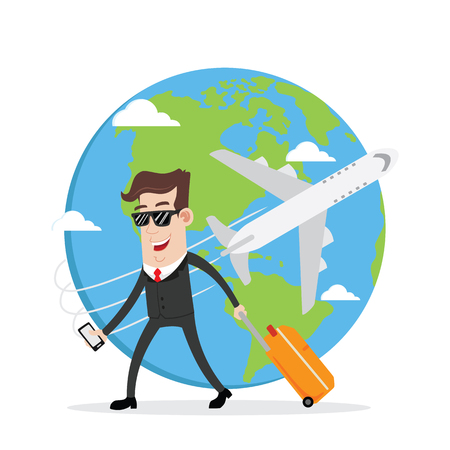 business trip: Businessman on business trip and travel around the world Illustration