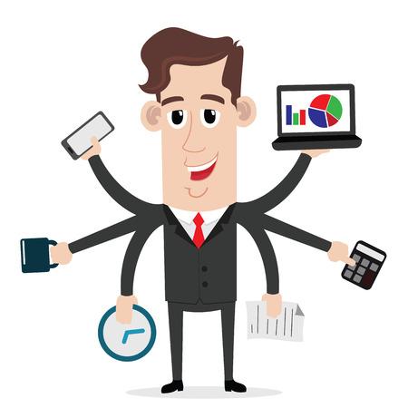 Businessman with multitasking and multi skills