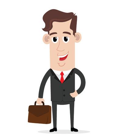 businessman cartoon: Smiling businessman holding a suitcase