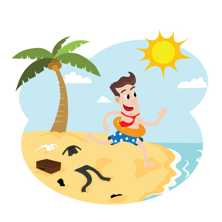 happy businessman: Happy businessman on vacation Illustration