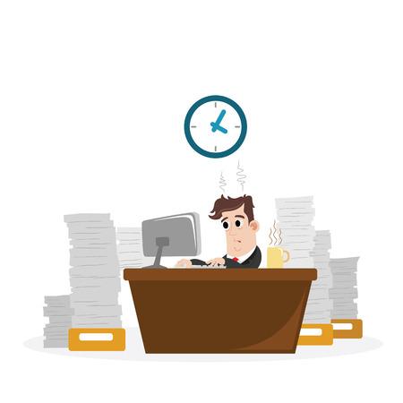 computadora caricatura: Hombre de negocios con un montón de trabajo Vectores