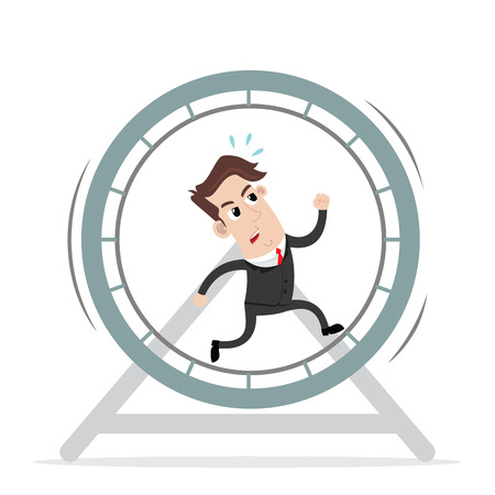 Businessman running in the wheel cage