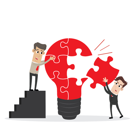 Businessman completing an idea light bulb puzzle  イラスト・ベクター素材
