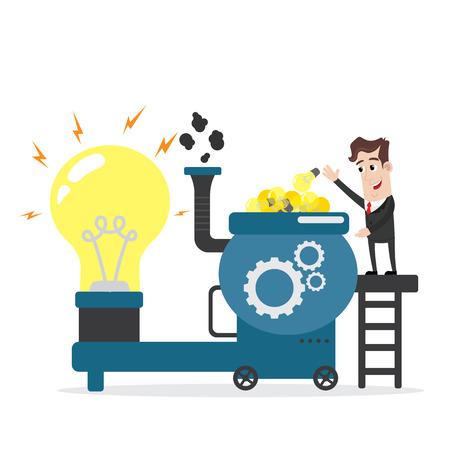 Businessman putting lots of idea bulbs into machine Ilustrace