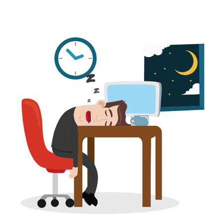 tired: Tired businessman sleeping at work Illustration