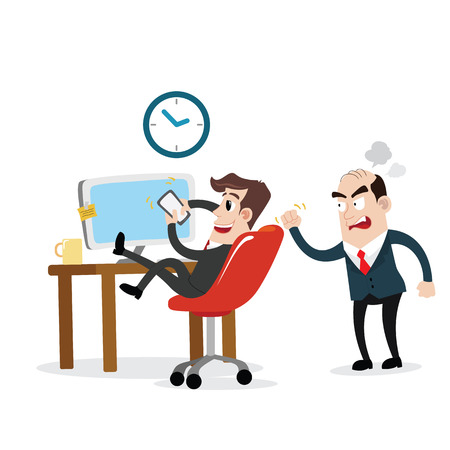 stressed businessman: Businessman using mobile phone at work Illustration