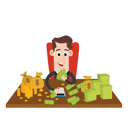 riches: Rich businessman counting wealth