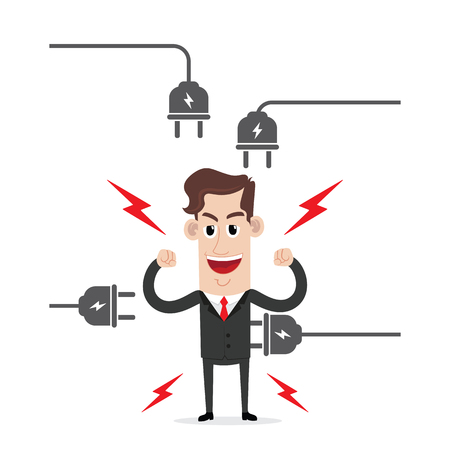 strong: Strong businessman with electric plug Illustration