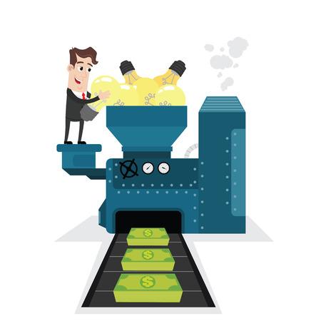 transforming: Businessman transforming ideas into money