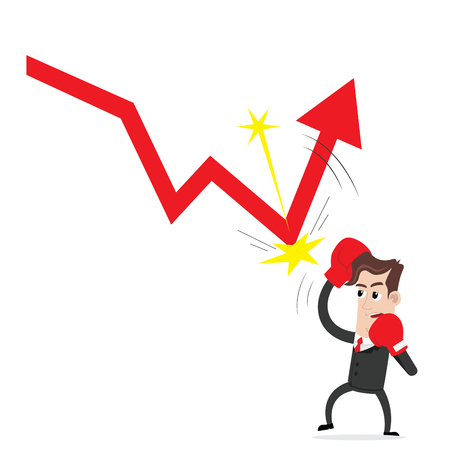decline: Businessman hitting a decline arrow graph Illustration