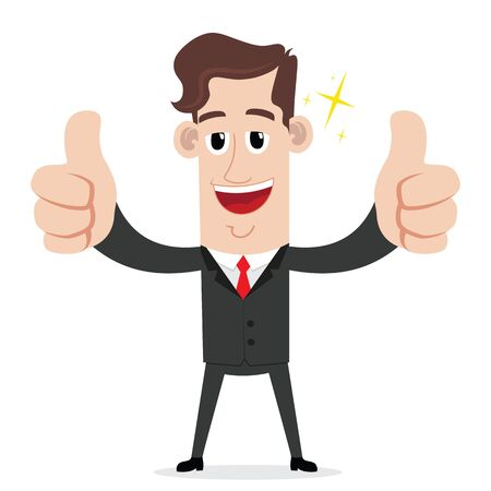 Businessman with two thumbs up gesture