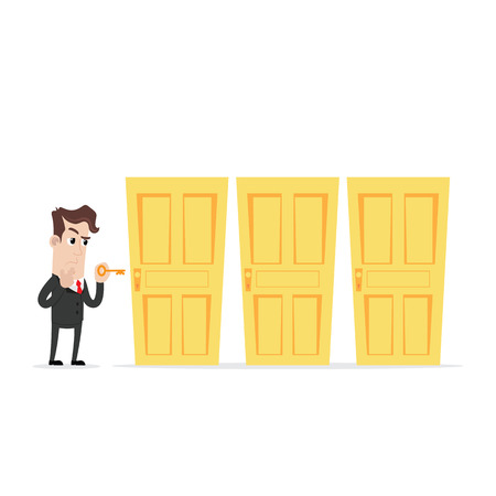 Confused businessman holding a key choosing the right door Stock Illustratie