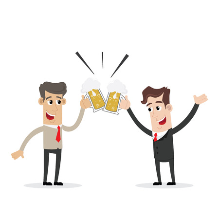 businessmen: Two smiling businessman drinking beer and toasting Illustration