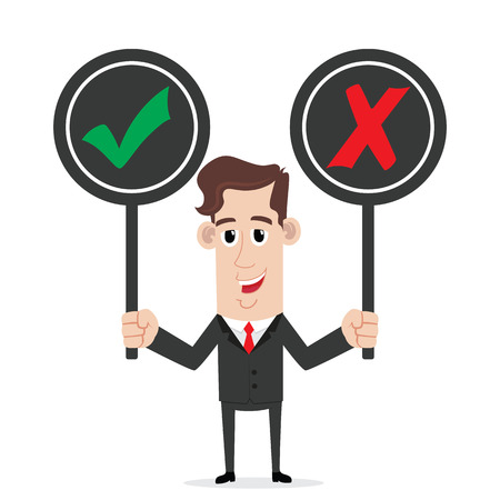 yes or no: Smiling businessman holding right and wrong sign Illustration