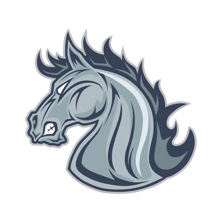 Horse or mustang head mascot Çizim