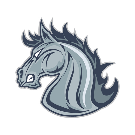Horse or mustang head mascot Illustration