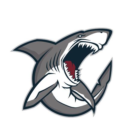 great white shark: Angry shark mascot Illustration