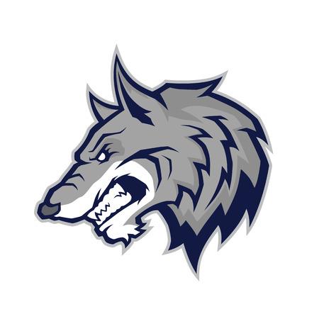mascota de la cabeza del lobo