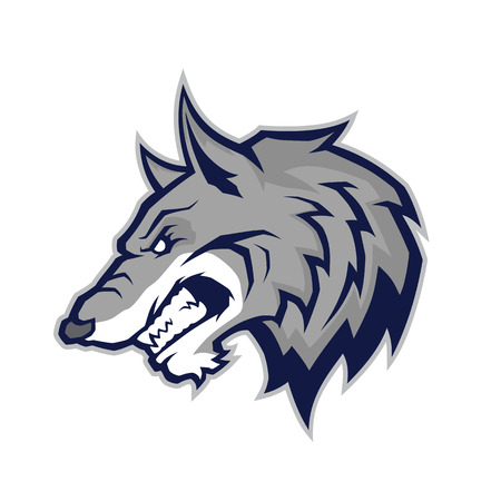 gray wolf: Wolf head mascot