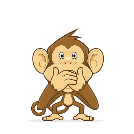 Monkey closing his mouth Illustration