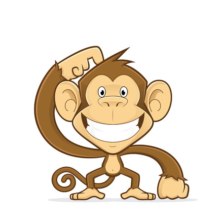and scratching: Smiling monkey scratching his head