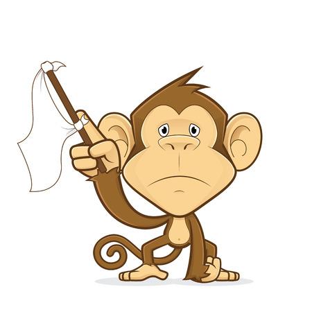 Monkey waving a white flag Vetores
