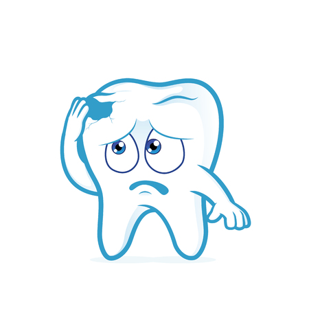 cavity: Tooth in pain with cavity Illustration