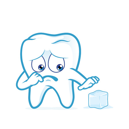 bad hygiene: Sensitive tooth scared of a ice Illustration