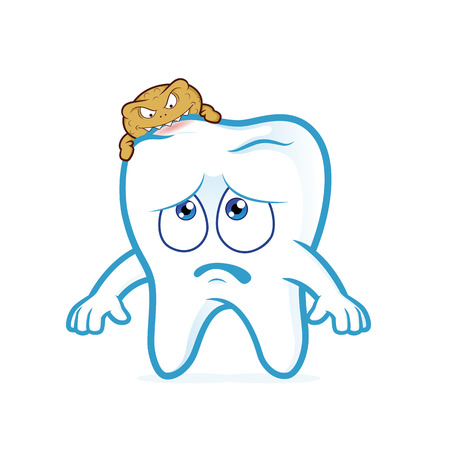 attacked: Tooth attacked by germs of caries