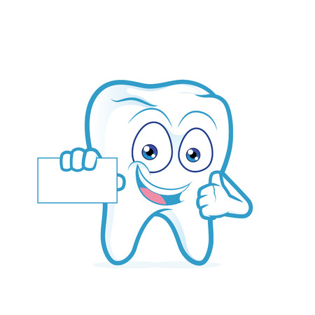blank business card: Tooth holding a blank business card