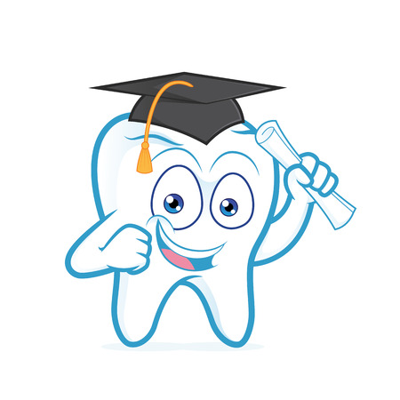 232 dentist student stock illustrations cliparts and royalty free Young Dentist graduating tooth holding paper roll