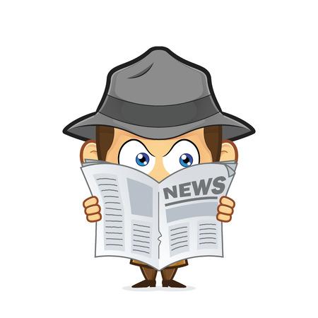 El detective espiar a través de periódicos
